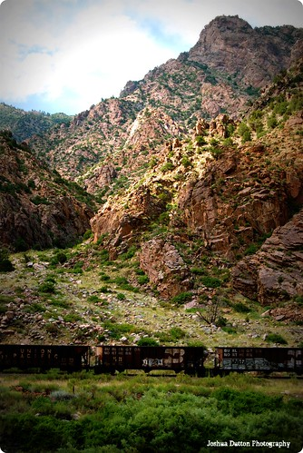 road mountains train river colorado rocks different rocky rail cliffs rapids unionpacific strangely dutton strangelydifferent joshuadutton