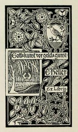 Bookplate of E Heller