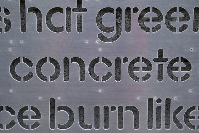 """Word Wall Panel Fresh From The WaterJet - """"concrete"""" Closeup"""