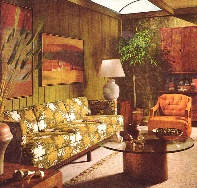 Vintage living room 1968 for 70s apartment design