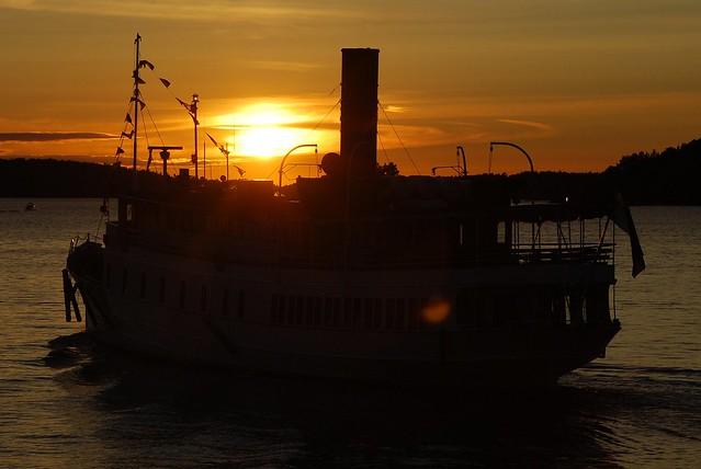 Ship and sunset on Stockholm archipelago