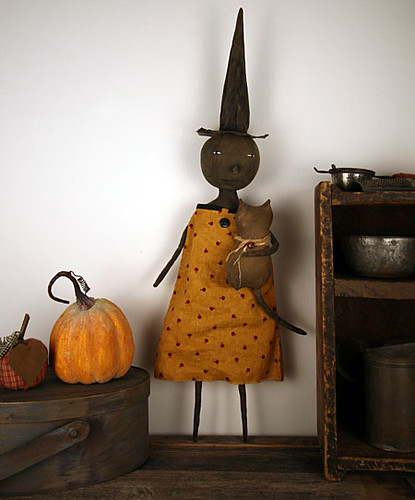 Primitive Folk Art Witch Doll with Cat