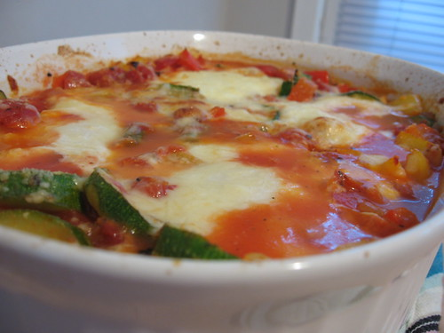 Mediterranean vegetable casserole with eggs and cheese