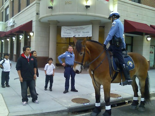 Horse cop and kids