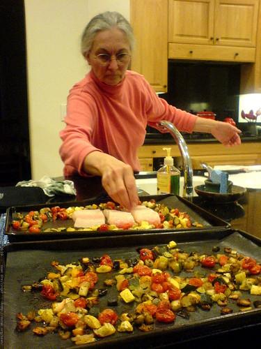 anna preparing to bake halibut   DSC00575