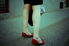 human leg, footwear, shoe, red, limb, leg, fashion, lady, beauty, black,