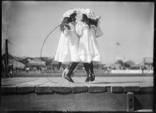 Girls skipping at an athletics carnival by Powerhouse Museum Collection