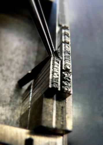 Composition sur un composteur; letterpress studio