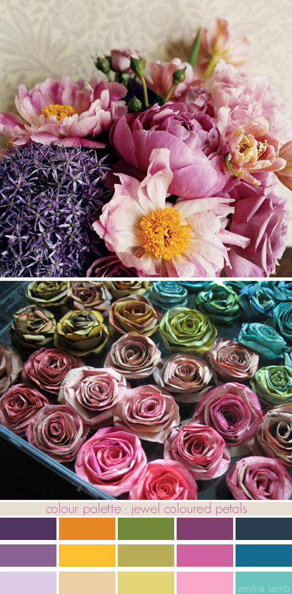 colour palette : jewel coloured petals - curated by Emma Lamb