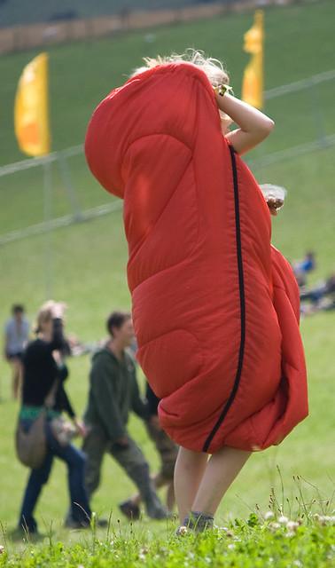 walking sleeping bag at beachdown flickr photo