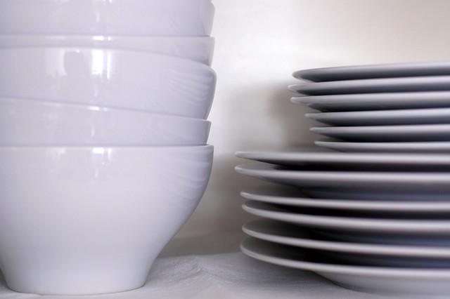 white dishes, finally