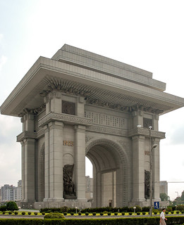 Image of Arch of Triumph near Pyongyang. monument communism dprk