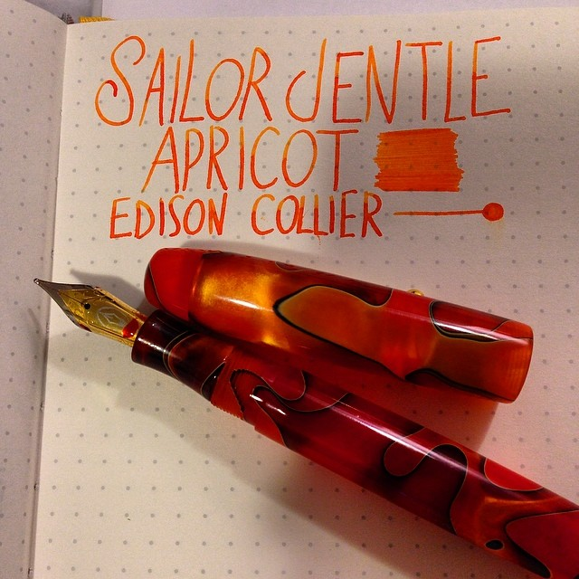 Sailor Jentle Apricot. @edisonpenco Collier. #fountainpens #penporn #inks #inkporn