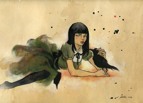 "Like Noah's Dove. 12""x9"". Ink and oil on tea-stained paper. © 2006"