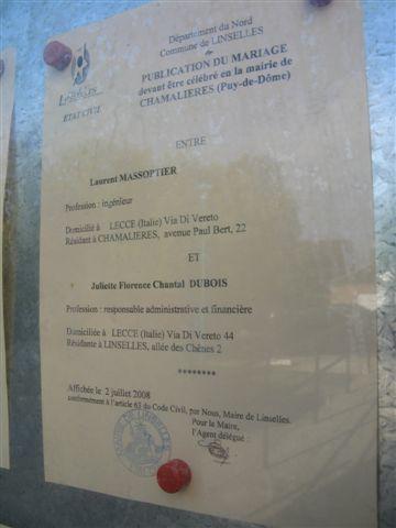 Le blog de laurent et juliette deux fran ais expatri s lecce en italie publication des bans - Publication banc mariage ...