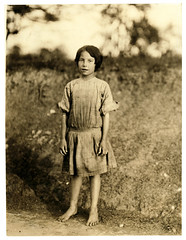 Lewis Hine: Ruth Rous, age 11 or less, cotton mill worker, Randleman, North Carolina, 1913