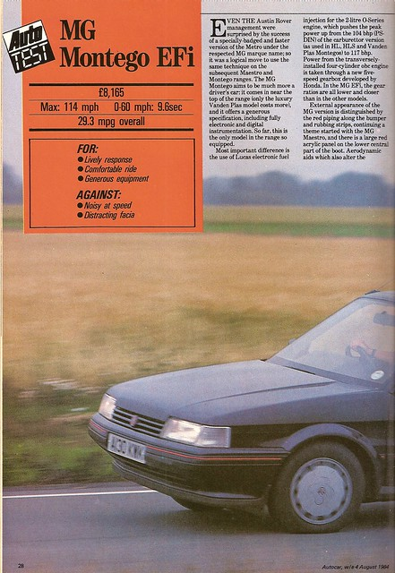 MG Montego EFi Test 1984 1