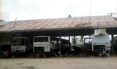 Philtranco bus body building Company with Hino chassis at Gumaca, Quezon, Philippines.