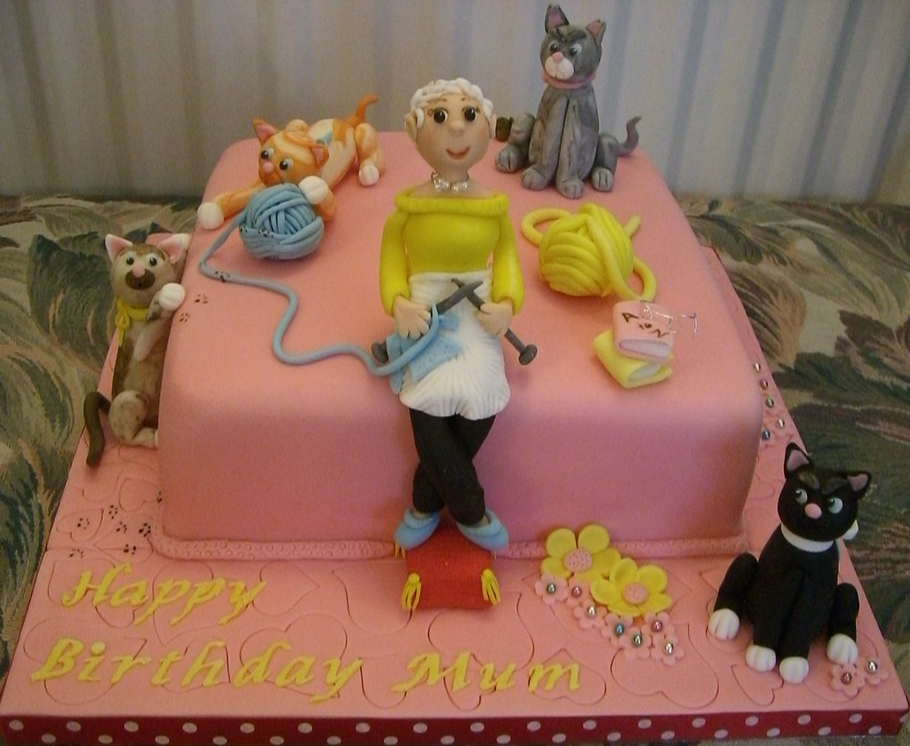 Mums Cats And Knitting Birthday Cake