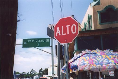Stop sign in Tijuana