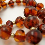 Baltic Amber & Gold Necklace (detail)