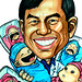Caricature of a gynaecologist with babies