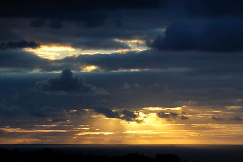 ocean light sunset sky clouds rays