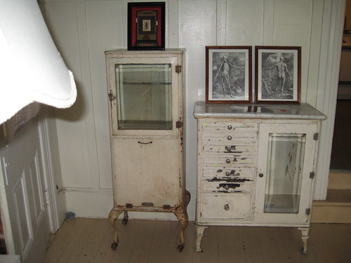 Two vintage medical cabinets