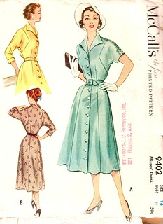 Vintage 1953 Misses' One-Piece Dress Size 14 McCalls 9402