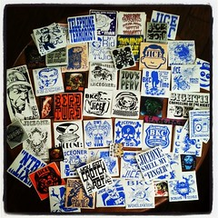 JICE BKC comes in with #stickers By the pound! #stickershock  #exhibition #submission From New York state, a huge pile of stickers BKC style.