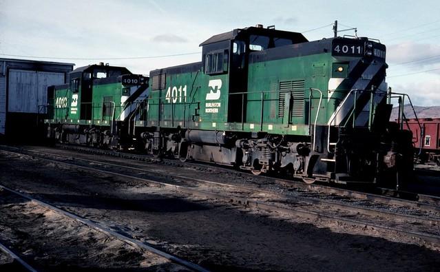 Burlington Northern Alco C-415 #4011 and #4010, Klamath Falls Oregon, March 1977.