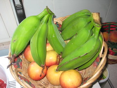 vegetable(0.0), gourd(0.0), cooking plantain(1.0), banana(1.0), produce(1.0), fruit(1.0), food(1.0),