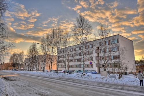 morning winter sky snow building architecture clouds sunrise finland landscape geotagged hdr mäntsälä tonemapped tonemap 3exp handheldhdr cumulushumilis cumulusfractus
