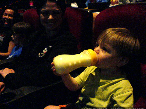 sequoia's first movie theater experience   he endured 42 minutes of kung fu panda   DSC01202