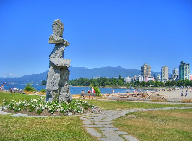Inukshuk Beside English Bay Beach