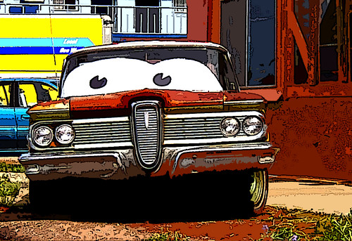 Rusted Edsel Along Route 66 in Seligman, Arizona (Cut Out Effect)