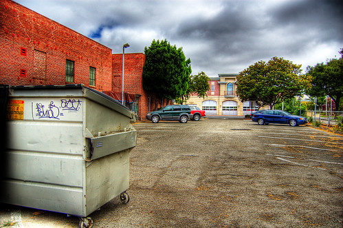 street blue trees usa house brick green ford lamp station clouds trash dumpster truck fire graffiti 1 us am garbage escape cloudy pov pavement teal balcony c united mason parking main lot pickup grand tags engines pontiac walls states hayward hybrid hdr mostviewed1 mostviewed7 mostviewed6 mostviewed10