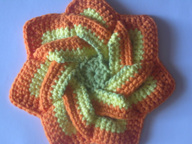 Crochet flower hot pad