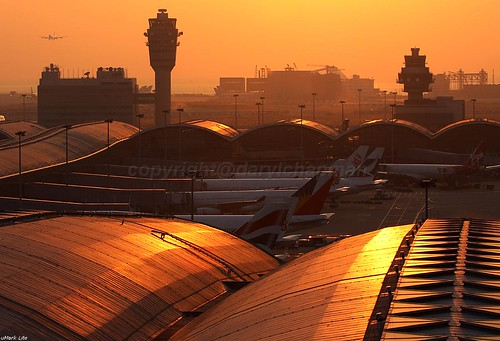sunset at Hong Kong International Airport