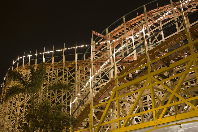 Giant Dipper Roller Coaster at Night