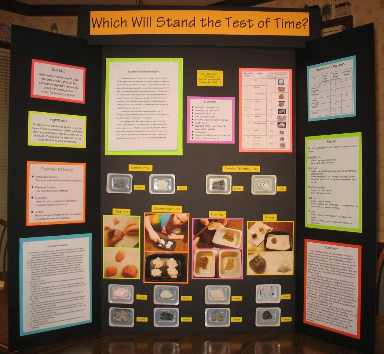 8th grade science fair - display board - full board - a photo on