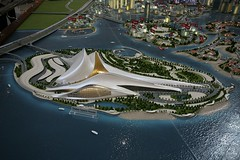 urban design, bird's-eye view, artificial island, aerial photography,