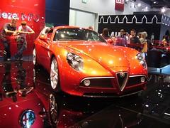 alfa romeo disco volante(0.0), automobile(1.0), alfa romeo(1.0), exhibition(1.0), vehicle(1.0), automotive design(1.0), alfa romeo 8c(1.0), auto show(1.0), alfa romeo 8c competizione(1.0), antique car(1.0), concept car(1.0), land vehicle(1.0), supercar(1.0), sports car(1.0),