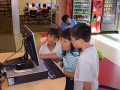 Kids using the computers.