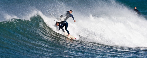 Surfing Collision at Morro Rock in Morro Bay, CA