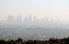 smog over downtown Los Angeles