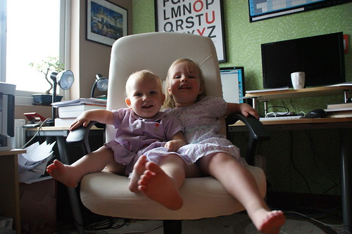 Playing on daddy's office chair by PhylB