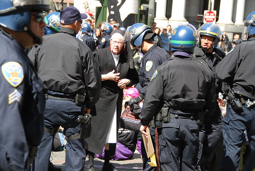 Nun getting arrested at five years of Iraq war protest