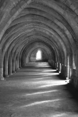 Black and White Version of Fountains Abbey