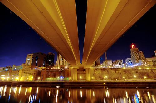 bridge urban skyline night river mississippi lights neon stpaul twincities saintpaul wabash